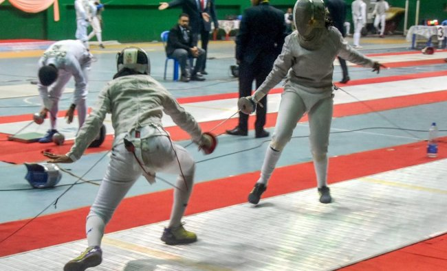 Players of Kerala and Tamilnadu in action during the 1st day of 29th Senior National Fencing Championship in Guwahati, Saturday, February 2, 2019. (PTI Photo)