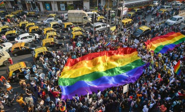 Members of the LGBTQ community participate in a pride parade in Mumbai, Saturday, Feb 2, 2019. (PTI Photo/Mitesh Bhuvad)