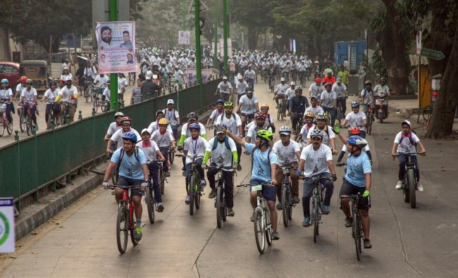 Participants ride bicycles during a rally to save the tigers, in Thane, Sunday, Feb. 03, 2019. (PTI Photo)