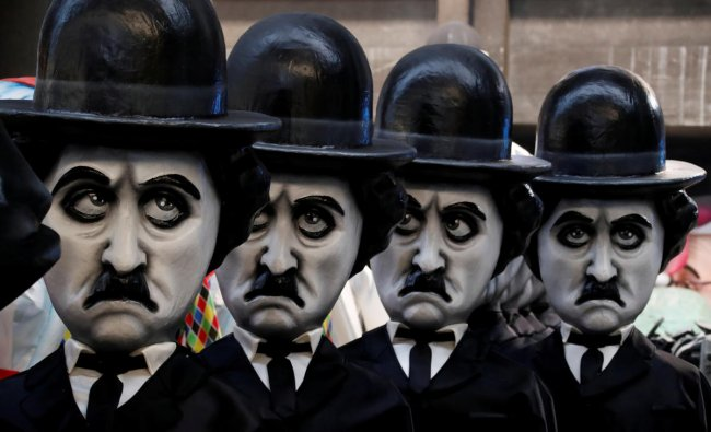 Figures of Charlie Chaplin are seen during preparations for the carnival parade in Nice, France, February 4, 2019. REUTERS/Eric Gaillard