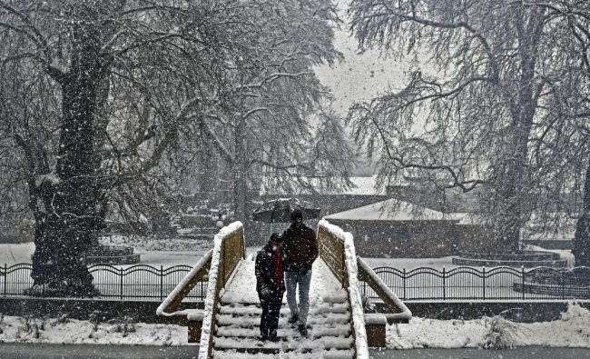 A tourist couple climb down a snow-covered staircase during heavy snowfall, in Srinagar, Thursday, Feb 7, 2019. Air traffic and highways were affected due to frequent snowfall and landslides since last two days. (PTI Photo/S Irfan)