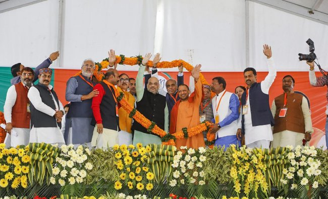 BJP President Amit Shah, Uttar Pradesh Chief Minister Yogi Adityanath and other leaders during Booth President\'s Conference for Gorakhpur Zone, in Maharajganj, Friday, Feb 08, 2019. (Handout Photo)