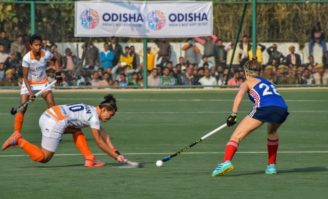 Players of India A and France A women\'s hockey teams in action in Gorakhpur, Sunday, Feb 10, 2019. India A won the match. (PTI Photo)