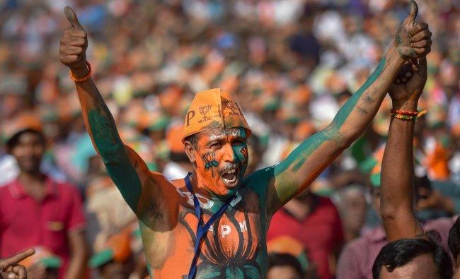 A BJP supporter during Prime Minister Narendra Modi\'s public rally in Tiruppur, Tamil Nadu, Sunday, Feb. 10, 2019. (PTI Photo)