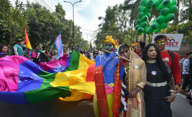 LGBTQIA members during their pride march in Lucknow, Sunday, Feb 10, 2019. (PTI Photo)