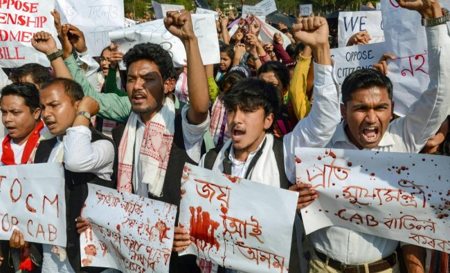 Students of Dibrugarh University stage a protest against Citizenship (Amendment) Bill, in Dibrugarh, Monday, Feb. 11, 2019. (PTI Photo)