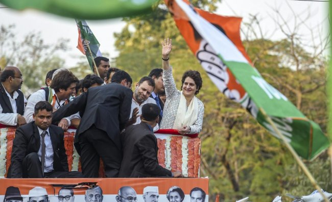 Congress President Rahul Gandhi and party General Secretary Priyanka Gandhi Vadra (R) during their roadshow in Lucknow, Monday, Feb 11, 2019 (PTI Photo/Atul Yadav)