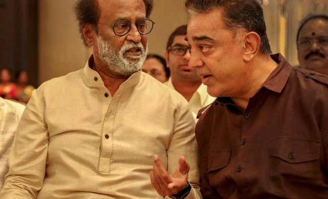 Makkal Needhi Maiam (MNM) Chief Kamal Haasan and actor-turned-politician Rajinikanth during the wedding ceremony of the latter\'s younger daughter Soundarya Rajinikanth with actor-businessman Vishagan Vanangamudi, in Chennai, Monday, Feb. 11, 2019. (PTI Photo)