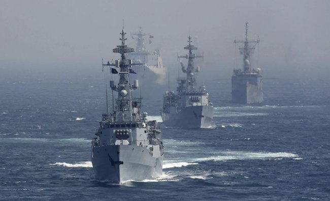 Ships take part in Pakistan Navy\'s Multinational Exercise AMAN-19, in Karachi, Pakistan, Monday, Feb. 11, 2019. A five-day multinational exercise hosted by Pakistan Navy has begun near the southern port city of Karachi in an effort aimed at enhancing cooperation in keeping the seas safe from pirates, terrorists and smugglers. AP/PTI