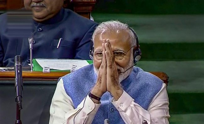 Prime Minister Narendra Modi in the Lok Sabha on the last day of the Budget Session of Parliament, in New Delhi, Wednesday, Feb. 13, 2019. (LSTV GRAB/PTI Photo)