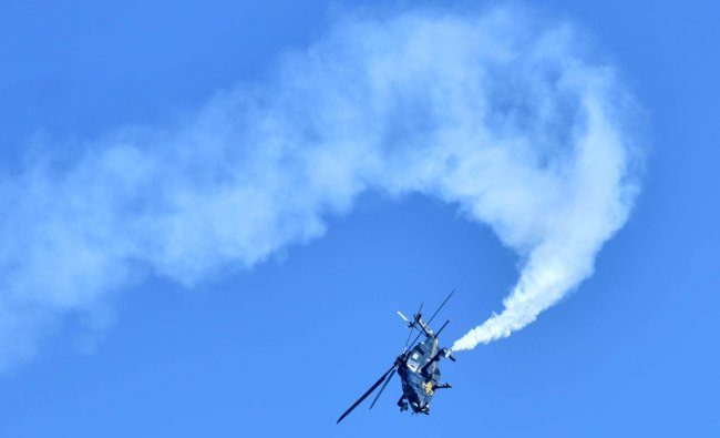 HAL LCH performs at the Aero India 2019 full dress rehearsal program at Yelahanka Airbase in Bengaluru on Monday 18th February 2019. (DH Photo by Janardhan B K)