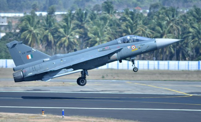 Tejas aircraft take off during the inauguration of Aero India 2019 at Yelahanka Airbase in Bengaluru on Wednesday 20th February 2019. (DH Photo by Janardhan B K)