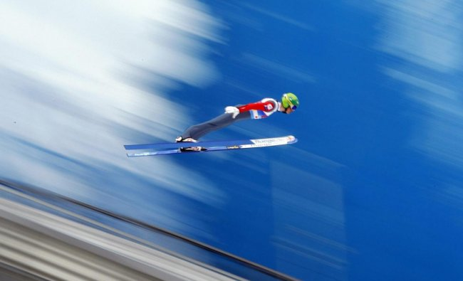Finland\'s Leevi Mutru soars through the air during the Nordic Combined, Ski Jumping HS109 team event, at the Nordic Ski World Championships in Seefeld, Austria. AP/PTI