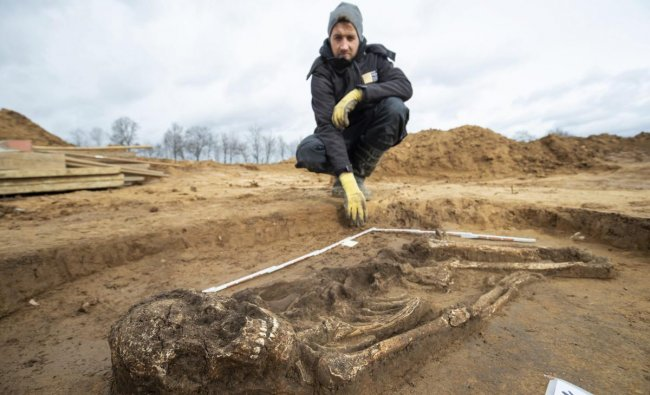 Archeologist Scott Tucker watches a 6500 year old skeleton in Kitzingen, Germany. The man from the Stone Age with the nickname \'Fred\' was found during construction works when a wine-grower wanted to extend his winery. AP/PTI