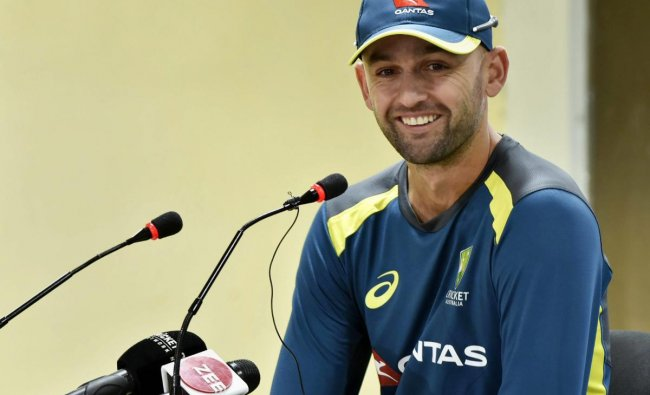Australia\'s Nathan Lyon addresses a press conference ahead of the 3rd ODI match against India at JSCA Stadium in Ranchi. PTI