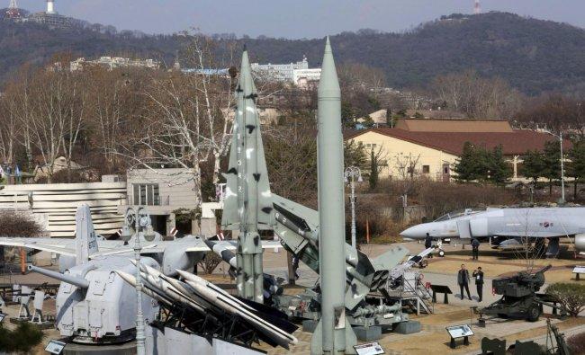 A mock North Korean Scud-B missile, center right, and South Korean missiles are displayed at Korea War Memorial Museum in Seoul, South Korea. AP/PTI