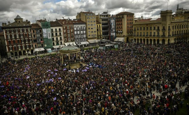 Pamplona: People gather at Plaza del Castillo square during the International Women\'s Day in Pamplona, northern Spain, Friday, March 8, 2019. Spanish women are marking International Women\'s Day with a full day strike and dozens of protests across the country against wage gap and gender violence. AP/PTI