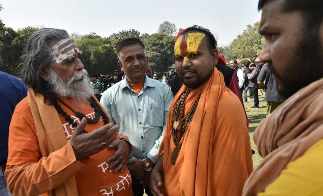 New Delhi: Akhil Bharat Hindu Mahasabha (ABHM) member Pandit Nand Kishore Mishra and Nirmohi Akhara\'s Sitaram Das at the Supreme Court after a hearing of the Ram Janmabhoomi-Babri Masjid land dispute case, in New Delhi, Friday, March 8, 2019. (PTI Photo/Ravi Choudhary)