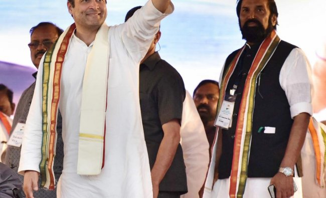 Hyderabad: Congress President Rahul Gandhi being presented a memento at a public meeting at Chevella constituency near Hyderabad, Saturday, March 9, 2019. (PTI Photo)