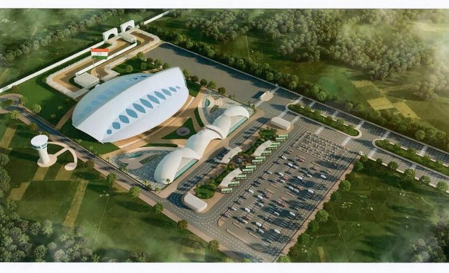 Gurdaspur: An architecture design of the Passenger Terminal Building, approved by Ministry of Home Affairs, to be constructed for the Kartarpur corridor, in Gurdaspur, Saturday, March 9, 2019. (PTI Photo) (Story No. DEL37)