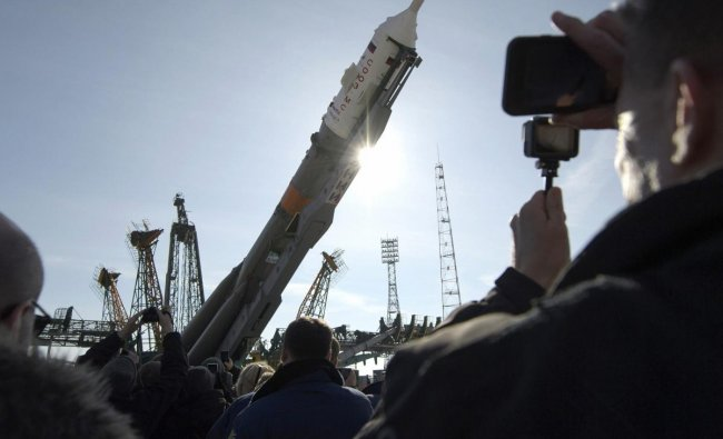 In this photo provided by NASA, the Soyuz rocket is raised into vertical position on the launch pad at the Baikonur Cosmodrome in Kazakhstan on Tuesday, March 12, 2019. Expedition 59 crew members Nick Hague and Christina Koch of NASA, along with Alexei Ovchinin of Roscosmos, will launch March 14 on the Soyuz MS-12 spacecraft from the Baikonur Cosmodrome for a six and a half month mission on the International Space Station. AP/PTI