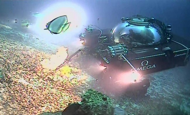 An image taken from video issued by Nekton shows a submersible from the Ocean Zephyr vessel during a descent into the Indian Ocean off Alphonse Atoll near the Seychelles, Tuesday March 12, 2019. Members of the British-led Nekton research team aboard two submersible vessels broadcast its first live, television-quality video transmission Tuesday from a two-person submersible, during their mission to document changes to the Indian Ocean. AP/PTI.
