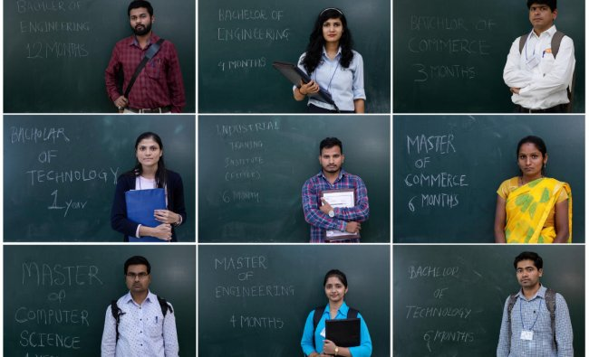 A combo shows unemployed people posing in front of a chalkboard with their qualifications during a job fair in Chinchwad, India, February 7, 2019. (Top L-R) Rahul Dandwate , a 26-year-old, Tejaswini Shelake, a 23-year-old, Mandar Gosavi, a 38-year-old, (Center L-R) Ashwani Khabale, a 21-year-old, Vikas Kamble, a 27-year-old Kajal Ithape, a 25-year-old, (Bottom L-R) Pankaj Kumbhakarn, a 27-year-old, Gayatri, a 24-year-old, Santosh Gurav, a 27-year-old.