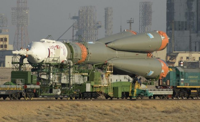 In this photo provided by NASA, the Soyuz rocket is transported by train to the launch pad at the Baikonur Cosmodrome in Kazakhstan on Tuesday, March 12, 2019. Expedition 59 crew members Nick Hague and Christina Koch of NASA, along with Alexei Ovchinin of Roscosmos, will launch March 14 on the Soyuz MS-12 spacecraft from the Baikonur Cosmodrome for a six and a half month mission on the International Space Station. AP/PTI