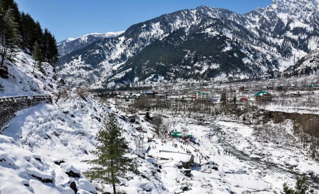 Manali: A view of snow covered mountains, in Manali, Tuesday, March 12, 2019. (PTI Photo)