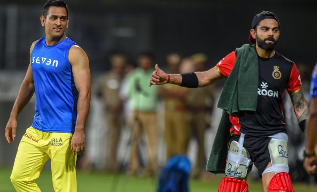 Skippers of Chennai Super Kings (CSK) MS Dhoni and Royal Challengers Bangalore (RCB) Virat Kohli at a practice session ahead of IPL 2019, in Chennai. (PTI Photo)