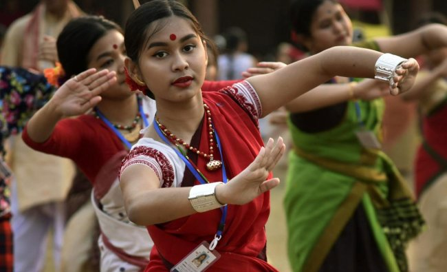 Participants during 'Folk Dance Workshop 2019' ahead of Rongali Bihu, in Guwahati, Sunday, March 24, 2019. (PTI Photo)
