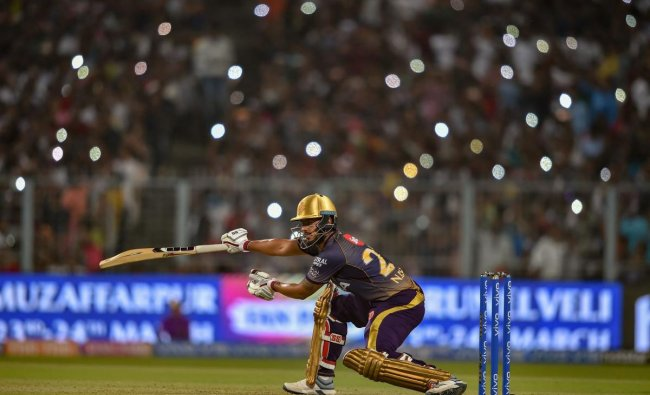 Kolkata Knight Riders Nitish Rana plays a shot against Sunrisers Hyderabad during IPL-2019 cricket match, at Eden Garden in Kolkata, Sunday, March 24, 2019. (PTI Photo)