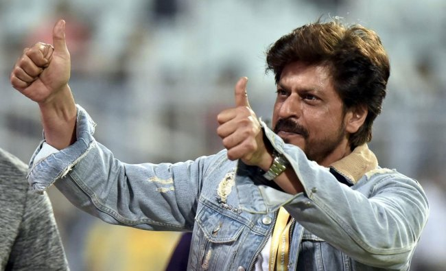 Kolkata Knight Riders owner Shah Rukh Khan celebrates his team\'s victory over Sunrisers Hyderabad in T-20, 2019 match in Kolkata, Sunday, March 24, 2019. (PTI Photo)
