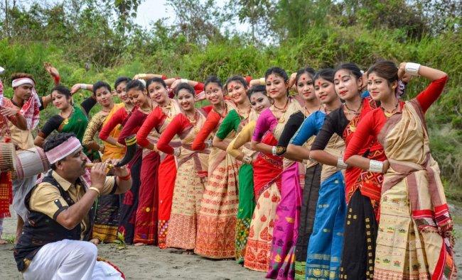 Artists perform Bihu dance during Rongali Bihu celebrations, in Dibrugarh, Monday, March 25, 2019. (PTI Photo)
