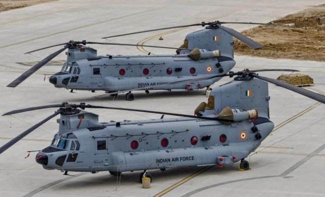 CH-47F(I) Chinook helicopters before its induction into the Indian Air Force, at Air Force Station Chandigarh, Monday, March 25, 2019. (PTI Photo)