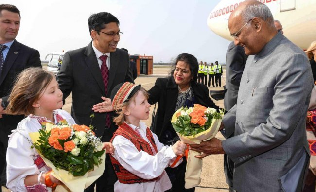 President Ram Nath Kovind is being presented a bouquet on his arrival at Franjo Tudman International Airport, Zagreb in Croatia, Monday, March 25, 2019. (RB Photo/PTI)