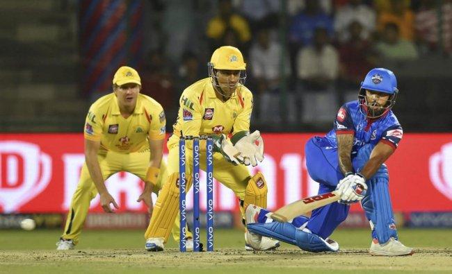 DC batsman Shikhar Dhawan plays a shot during the Indian Premier League (IPL T20 2019) cricket match between Chennai Super Kings (CSK) and Delhi Capital (DC) at Feroz Shah Kotla Cricket Stadium in New Delhi, Tuesday, March 26, 2019. (PTI Photo)