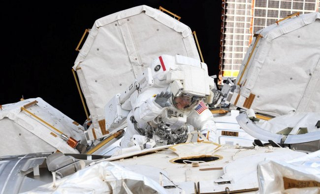 NASA astronaut Anne McClain is seen during Friday\'s spacewalk in this social media photo from the International Space Station posted on March 25, 2019. Picture posted on March 25, 2019. Courtesy NASA/Handout via REUTERS