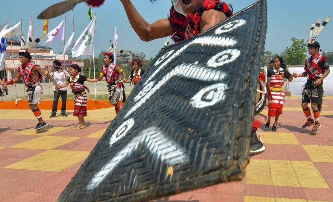 Cultural troops from various parts of northeast perform during the 4th Ethnic Cultural Meet, in Guwahati, Thursday, March 28, 2019. (PTI Photo)