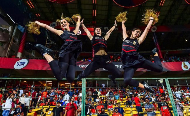 Cheerleaders of RCB during the Indian Premier League 2019 (IPL T20) cricket match between Royal Challengers Bangalore (RCB) and Mumbai Indians (MI), at Chinnaswamy Stadium in Bengaluru, Thursday, March 28, 2019. (PTI Photo)