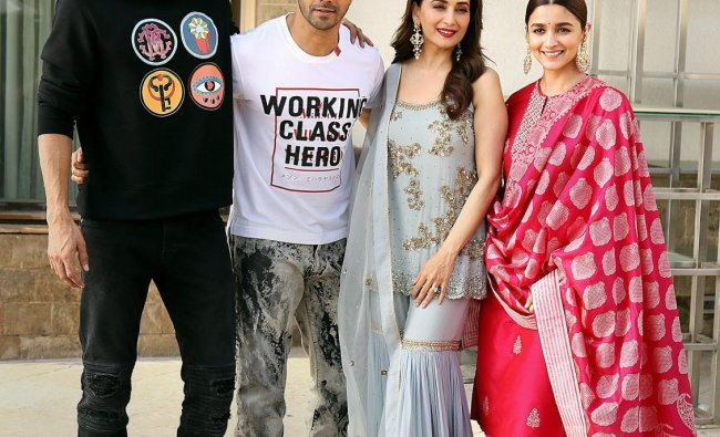 Bollywood actors Madhuri Dixit, Alia Bhatt, Varun Dhawan and Aditya Roy Kapur pose for a photograph during the promotion of their upcoming film \'Kalank\', in Mumbai, Thursday, April 04, 2019. (PTI Photo)
