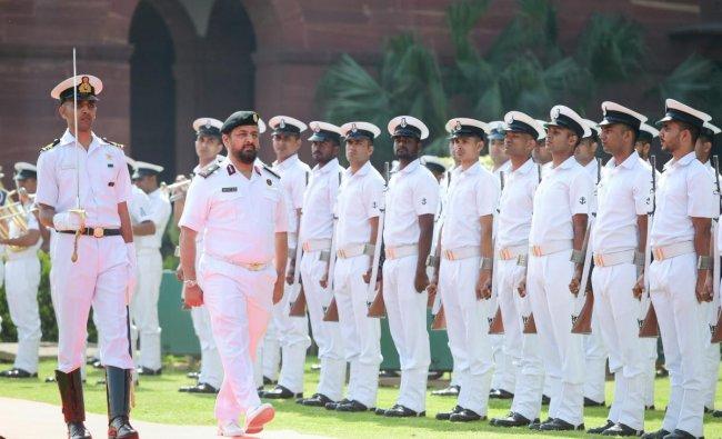Commander Qatar EMIRI Naval Forces Staff Major General Abdullah Bin Hassan Al Sulaiti inspects the guard of honour, at South Block in New Delhi, Friday, April 05, 2019. (PTI Photo)
