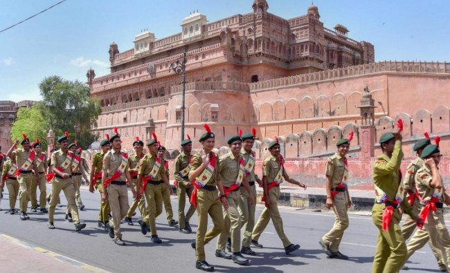 Cadets of National Cadet Corps (NCC) take part in an election awareness campaign, in Bikaner, Friday, April 05, 2019. (PTI Photo)