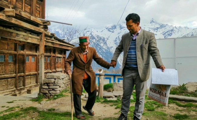 Shyam Sharan Negi, independent India's first voter at his residence in Kalpa, of Himachal Pradesh\'s Kinnaur district, on Friday, April 05, 2019. (PTI Photo)