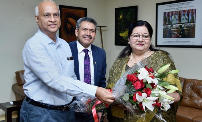 New Delhi: Professor Najma Akhtar is greeted after being appointed as the first woman vice-chancellor of Jamia Millia Islamia, in New Delhi, Friday, April 12, 2019. PTI