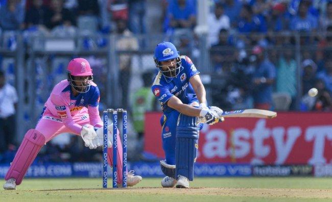 Mumbai: Mumbai Indians\' Rohit Sharma plays a shot during the Indian Premier League 2019 cricket match against Rajastan Royals at Wankhade Stadium in Mumbai, Saturday, April 13, 2019. PTI