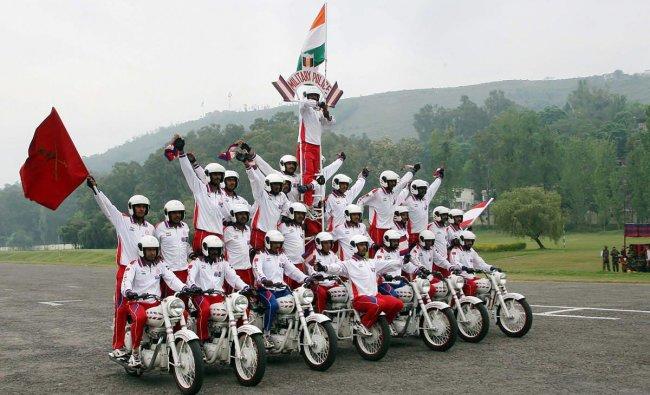 Rajouri: Army daredevils perform a stunt on motorcycles during Rajouri Day celebrations in Rajouri, J & K, Saturday, April 13, 2019. PTI