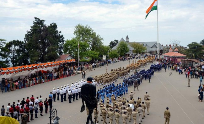 Shimla: Police personnel during the rehearsal for Himachal Day parade at Ridge, Shimla, Sunday, April 14, 2019. PTI