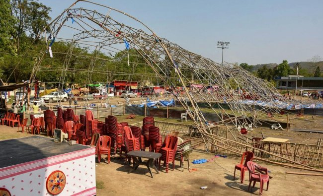 The Bihu pandal of Noonmati which collapsed in a storm in Guwahati, Wednesday, April 17, 2019. PTI