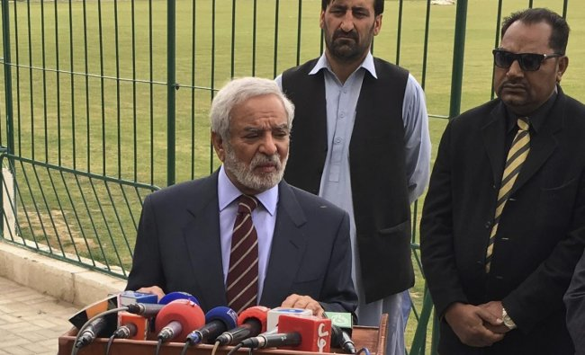 Chairman Pakistan Cricket Board Ehsan Mani addresses reporters in Quetta, Pakistan, Wednesday, April 17, 2019. A meeting of the Pakistan Cricket Board ended abruptly Wednesday when five of its seven members walked out after their ideas to restructure the domestic game were dismissed. The five members presented a signed resolution which said departments and regions in the country should remain part of the domestic cricket setup. They also wanted the appointment of Wasim Khan as PCB managing director to be de